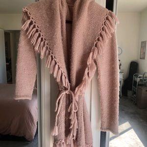 LoveShackFancy soft pink tie sweater